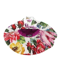 Floral cotton wide-brim hat