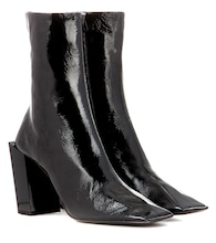 Glossed-leather ankle boots