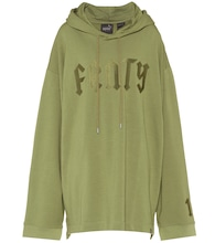 Embroidered cotton-blend hoodie