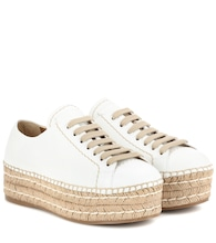 Leather espadrille platform sneakers