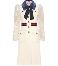 Shearling-trimmed cotton, mohair and alpaca coat