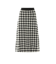Houndstooth cashmere and silk skirt