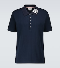 Knitted cotton short-sleeved polo