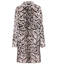 Jaguar printed fur and leather coat