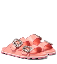 Slidy Viv' Strass leather slides