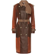 Leather-trimmed trench coat