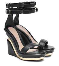 Trompe l'Oeil leather wedge sandals