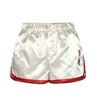 Satin shorts with appliqué
