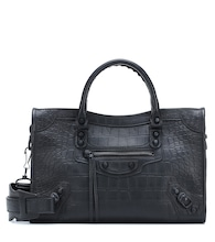 Classic City S croc-effect tote