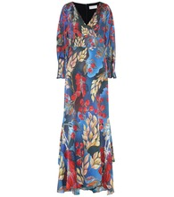 Printed stretch-silk midi dress