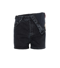 Asymmetric high-rise denim shorts