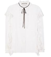 Ruffled cotton and silk blouse