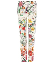 Floral-printed silk trousers