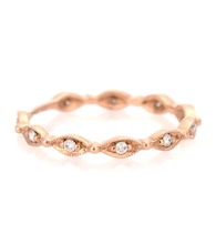 18kt Rose Gold Yasmine Phalanx ring with white diamonds