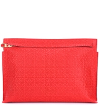 T Pouch embossed leather clutch