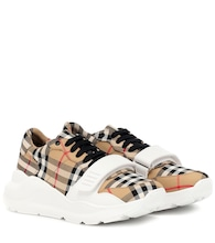 Checked cotton sneakers