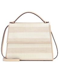 The Large Top Handle leather and fique striped bag