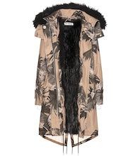 Printed faux-fur lined parka