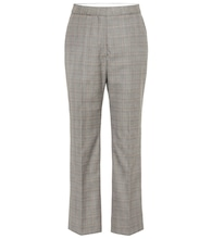 High-rise checked wool pants