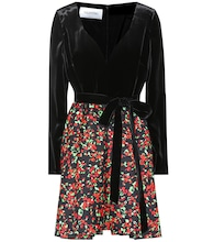 Floral-printed velvet and crêpe dress