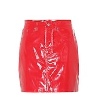 Faux patent leather miniskirt