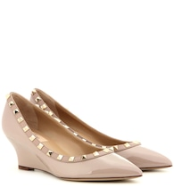 Valentino Garavani Rockstud leather wedge pumps