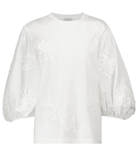 Clay appliquéd floral cotton blouse
