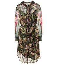 Octavia silk-blend camouflage dress