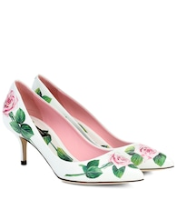 Floral leather pumps