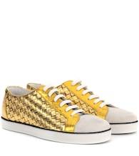 Intrecciato leather and suede sneakers