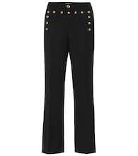 Mid-rise flared wool pants
