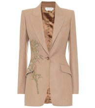 Embroidered camel-hair blazer