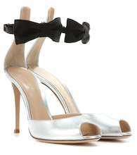 Metallic leather and satin sandals