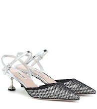 Metallic slingback pumps