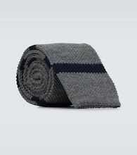 Striped wool knitted tie