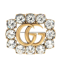 Double G crystal-embellished brooch