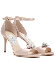 Tori 85 satin sandals with clip-on crystals