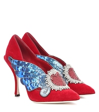Pumps Lori in velluto con paillettes