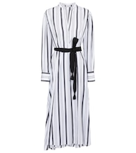 Belted striped cotton dress