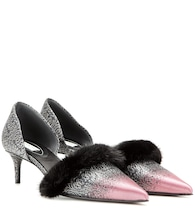 Fur-trimmed kitten-heel pumps