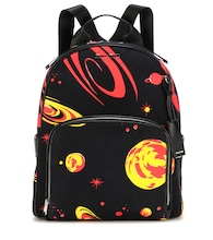 Printed leather-trimmed backpack