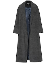 Woodside checked wool-blend coat