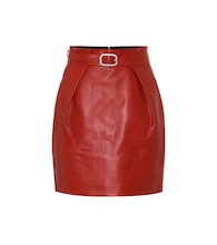 High-rise leather miniskirt