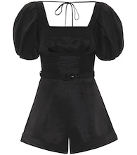 Puff-sleeved ottoman playsuit
