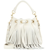 Small Bucket fringed leather tote