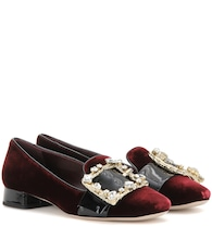 Embellished velvet slippers