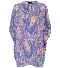Pleated paisley poncho