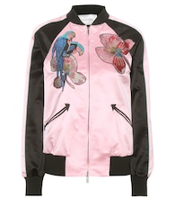 Embellished silk-satin bomber jacket