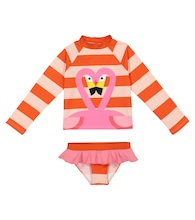 Flamingo striped rashguard swim set