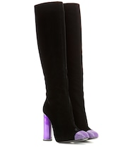 Embellished velvet knee-high boots